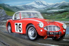 Fine Art : Austin Healey 3000-Pat Moss and Ann Wisdom- Liege-Rome-Liege Rally 1960