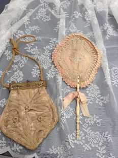 Lace fan and bag modified with inlaid stones - ca.1880