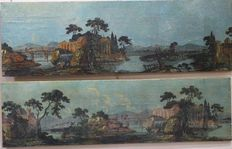 Unknown artist (19th century) - Pair of paints portraying landscapes