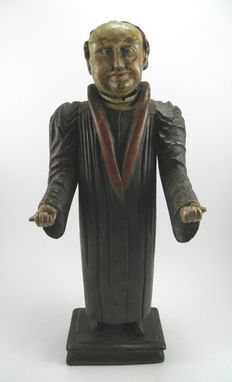Hand painted & carved wooden Folk Art figure of a preacher – 19th century