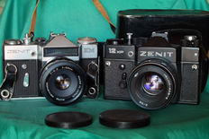 Batch of Zenit: EM and 12XP with auto revuenon 55mm f / 2.8 and Helios 44M4 58mm f/ 2.0