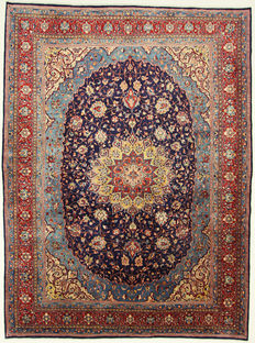 Wonderful Persian carpet, hand-knotted Sarough oriental carpet, high-quality blue 3.97 x 2.94, Persian carpet from Iran