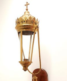 Copper funeral coach / carriage lantern - France, approx. 1960.
