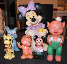 Disney, Walt - 6 Piep-pop figuren - o.a Mickey Mouse + Minnie Mouse + Stampertje (jaren '60)