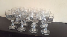 12 large wine glasses on baluster foot with olive cut, early 20th century