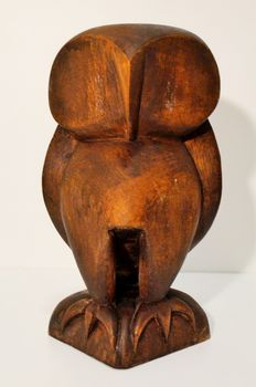 Standing owl - Styled wooden sculpture
