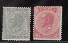 Belgium 1865 - 10 and 40 Centimes King Leopold I in profile - OPB 17A and 20