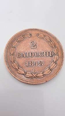 Papal States – 2 Baiocchi coin – Pope Pius IX – 1848 B – Silver.