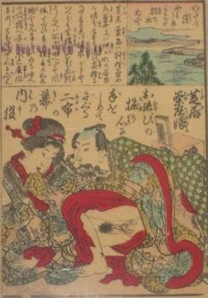 Erotic woodcut Shunga print attributed to Kunisada - Japan - ca. 1850.