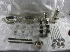 Lot silver plated table silver, Netherlands, France, England 2nd half 20th century