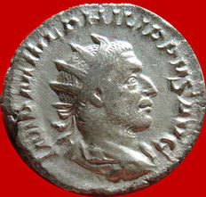 Roman Empire - Philip I (244-249 A.D.), silver antoninianus (4,20 g. 22 mm) minted in Rome. LAETIT. FVNDAT. Laetitia.