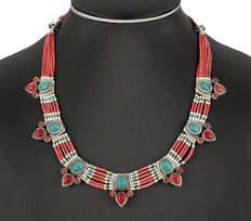 Ethnic silver choker, coral and turquoise paste, Hindi design