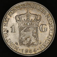 The Netherlands – 1 guilder 1944EP Wilhelmina – Silver