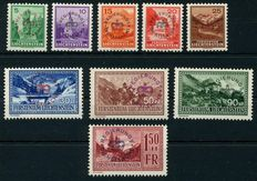Liechtenstein 1934 - stamps on the cards with 5 Rp - 1.50 Fr. with overprint - Michel 11/19 with 25 Rp.roter overprint 15a