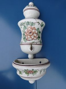 Spanish porcelain ewer and a vase marked Benlloch Spain.