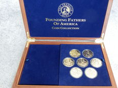 Franklin Mint The Founding Fathers of America - Coin Collection, 24 k Gold plated.