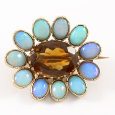 Vintage 10kt Yellow Gold  Brooch/Pendant with Opal an Golden Topaz