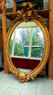 Huge French Facet cut baroque castle mirror -gilded wood-1m40 - North-France - approx. 1950
