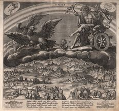 Jan Sadeler I  (1550-1600 ) naar Maerten De Vos (1532-1603) - Jupiter, from the seven planets - 1585