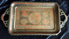 Brass tray with floral patterns in niello - India - first or second half 20th century