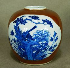 Porcelain pot with coffee glaze - China - 19th Century