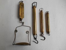 Four special, brass spring scale-beams - England from ca. 1900