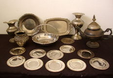 A Large Lot of 18 Silver Plated Items, XX Century