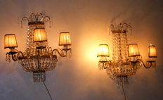 A pair of antique large 3-light sconces - Venice, late 19th / early 20th C
