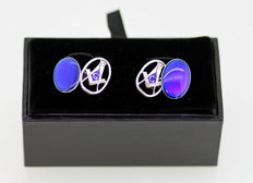 Masonic Sterling Silver Men's Cuff links With Blue Enamel, 20th Century