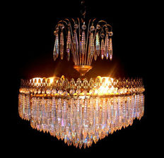 Antique original vintage fountain chandelier, very elegant, with acidified Murano Crystal drops, from the 1950s