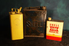 3 x Shell oil cans