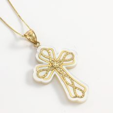 Estate 14kt Yellow Gold  Cross Necklace with Mother of Pearl