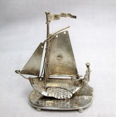 Silver miniature sailing ship