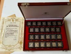 'The First 25 Stamps of Spanish Philately' in silver of 999 ml - with certificate of authenticity