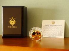Fabergé -  Imperial Egg Fabergé -Glass -Crowning of the czar - base gold plated 24 Kt  + COA