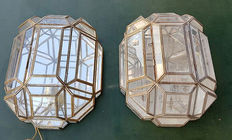 Pair of wall lamps made of bronze and crystal, Spain, from the 70s.