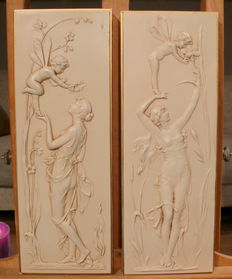 Two stone Art Nouveau style wall plates in relief - 2nd half 20th century-England