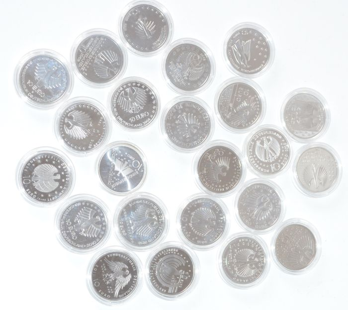 Germany - 10 Euro 2008 to 2011 (23 pieces) - silver