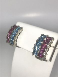 White gold earrings set with aquamarine, pink tourmaline and brilliant cut diamonds; approx. 0.25 ct