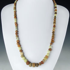 Necklace with Roman faience, glass and stone beads, including melon beads - 58 cm