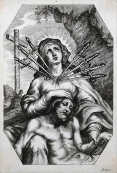 Alexander Voet (ll) - Engraving on parchment ' Mary mother of Sorrows ' - Antwerp - 17th century