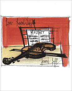 Bernard Buffet (after) - Violon et partition, Hommage à Raoul Dufy