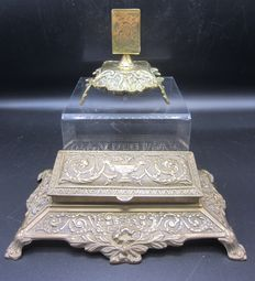 Antique yellow copper seal and a match box holder-France-ca 1900