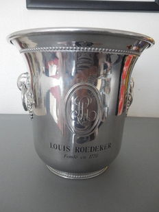 "Splendid, antique ""Louis Roederer"" champagne bucket, silver plated aluminium, brilliant shine - Collector's item - Rare - France"