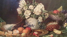 Unknown artist – Dead nature, fruit and vase of roses – circa 1950