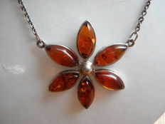 Silver necklace with genuine amber, 1950s