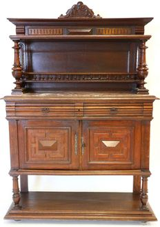 Oak sideboard with marble top and upright partition in Neo Renaissance style-ca. 1880