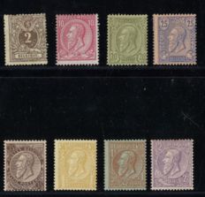 Belgium 1884 - Selection of Leopold II, including 1 Franc - between OPB 44/52