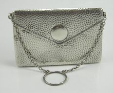 Silver ladies envelope calling card case on chain, F & Co, Birmingham 1914