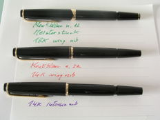 Montblanc 12 & 22 & 32 ; selection of fountain pens from the sixties